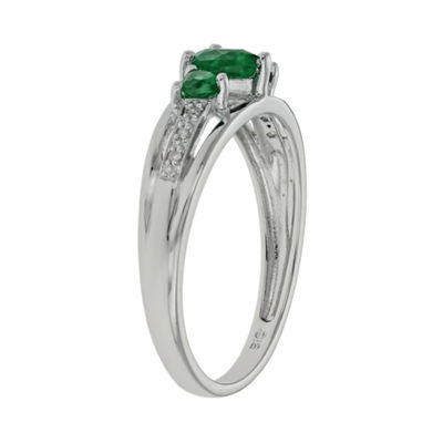 Lab-Created Emerald & Diamond-Accent Heart-Shaped 3-Stone 10K White Gold Ring