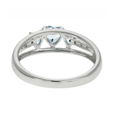 Simulated Aquamarine & Diamond-Accent Heart-Shaped 3-Stone 10K White Gold Ring