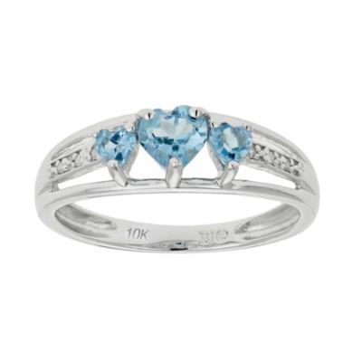 Genuine Topaz & Diamond-Accent Heart-Shaped 3-Stone 10K White Gold Ring