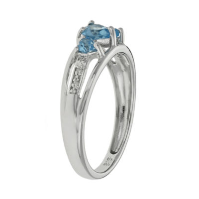 Genuine Topaz & Diamond-Accent Heart-Shaped 3-Stone 10K White Gold Ring