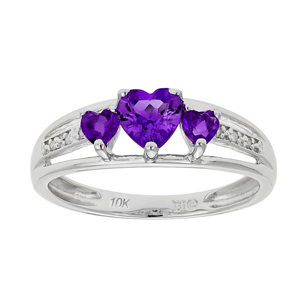10K White Gold Amethyst 3 Stone Heart Shape Ring