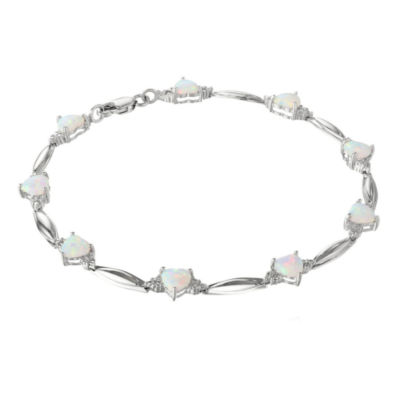 Lab-Created Opal Heart-Shaped Sterling Silver Bracelet