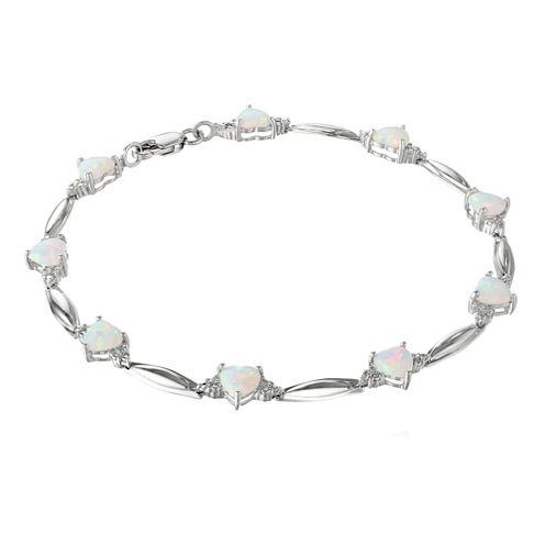 Lab-Created Opal Heart-Shaped Sterling Silver Bracelet
