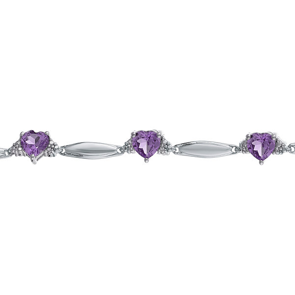 Genuine Amethyst & Diamond Accent Heart-Shaped Sterling Silver Bracelet
