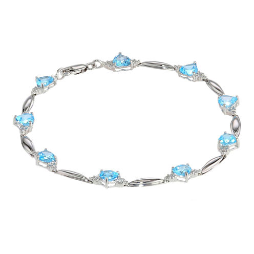Genuine Blue Topaz Heart-Shaped Sterling Silver Bracelet