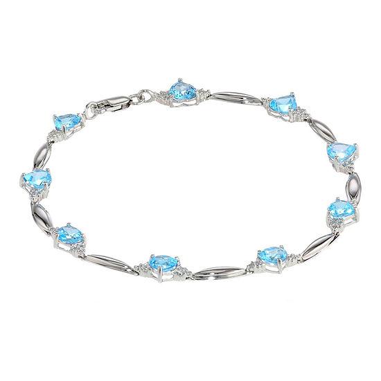 Genuine Blue Topaz Heart-Shaped Sterling Silver Bracelet