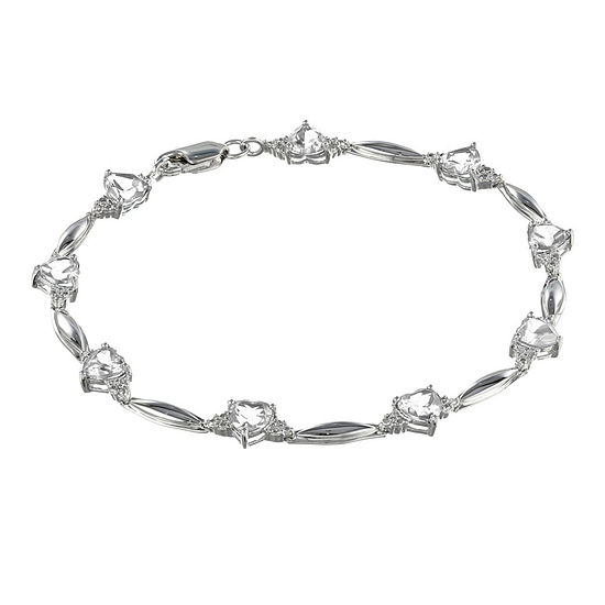 Genuine White Topaz Heart-Shaped Sterling Silver Bracelet