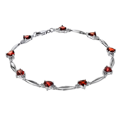 Genuine Garnet Heart-Shaped Sterling Silver Bracelet