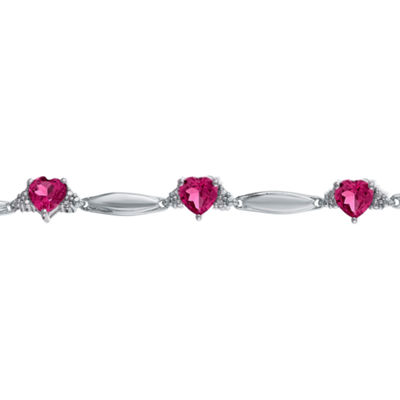 Lab-Created Ruby Heart-Shaped Sterling Silver Bracelet