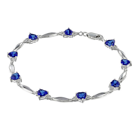 Lab-Created Blue Sapphire Heart-Shaped Sterling Silver Bracelet