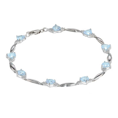 Simulated Aquamarine Heart-Shaped Sterling Silver Bracelet