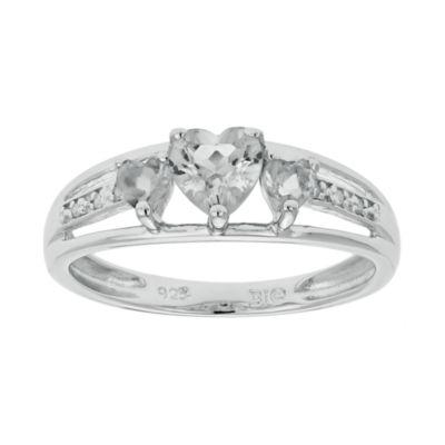 Genuine White Topaz Heart-Shaped 3-Stone Sterling Silver Ring