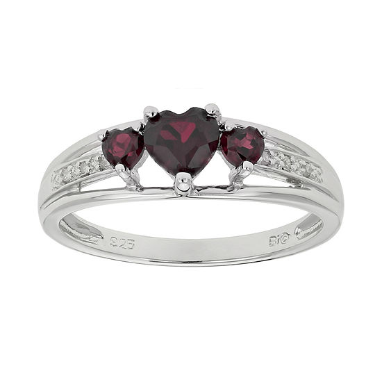 ae8a87b4bfb88 Genuine Garnet & Diamond-Accent Heart-Shaped 3-Stone Sterling Silver Ring