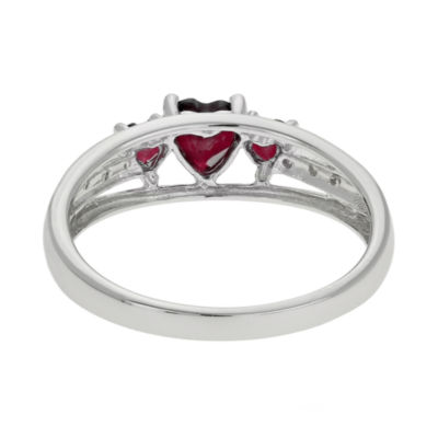 Genuine Garnet & Diamond-Accent Heart-Shaped 3-Stone Sterling Silver Ring