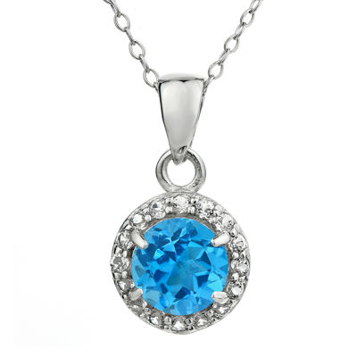 Faceted Genuine Blue & White Topaz Sterling Silver Pendant Necklace