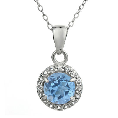 Simulated Aquamarine & White Topaz Sterling Silver Pendant Necklace