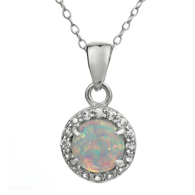 Faceted Lab-Created Opal & White Topaz Sterling Silver Pendant Necklace