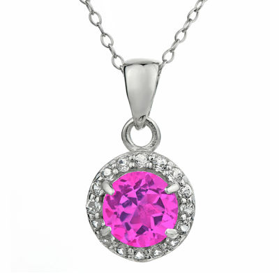 Faceted Lab-Created Pink Sapphire & White Topaz Sterling Silver Pendant Necklace