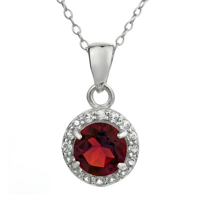 Faceted Genuine Garnet & White Topaz Sterling Silver Pendant Necklace