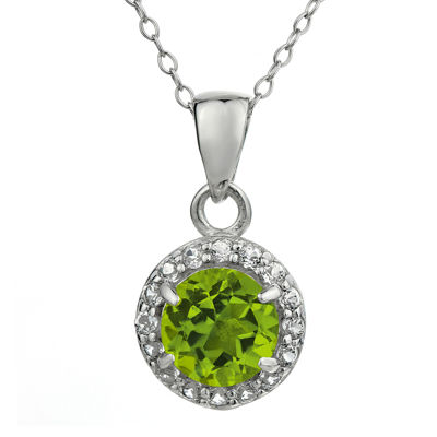 Faceted Genuine Peridot & White Topaz Sterling Silver Pendant Necklace