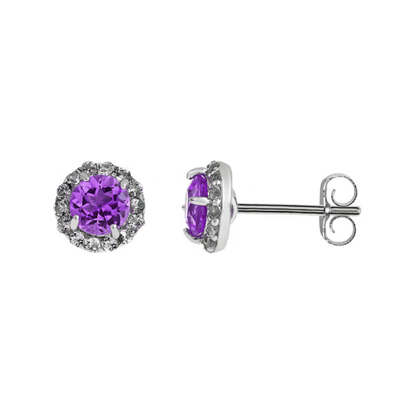 Faceted Genuine Amethyst & White Topaz Sterling Silver Earrings