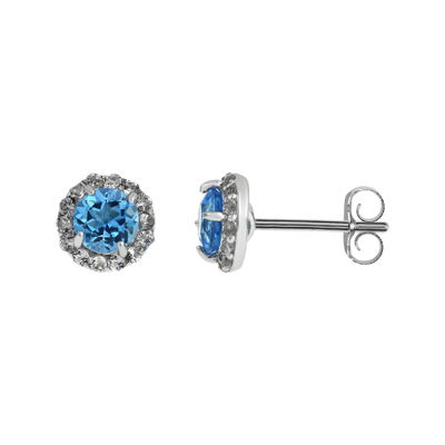 Faceted Genuine Blue & White Topaz Sterling Silver Stud Earrings