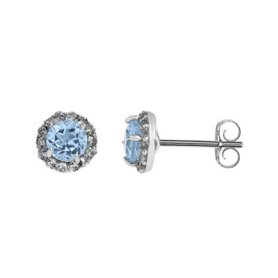 Simulated Aquamarine & White Topaz Sterling Silver Stud Earrings