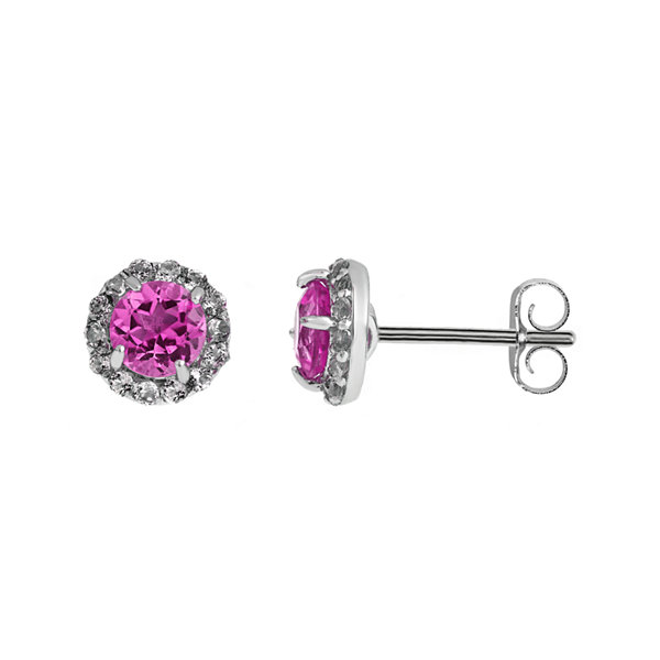 Faceted Lab-Created Pink Sapphire & White Topaz Sterling Silver Stud Earrings