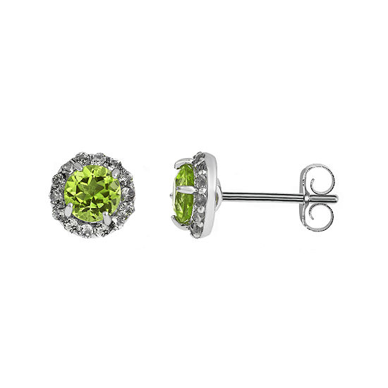 Faceted Genuine Peridot & White Topaz Sterling Silver Stud Earrings