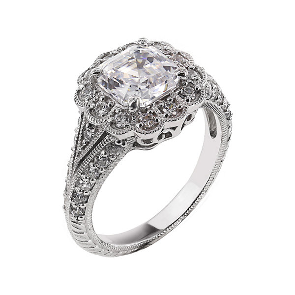 DiamonArt® Cubic Zirconia Sterling Silver Flower-Shaped Ring