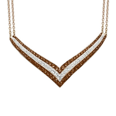 Brown & White Crystal 14K Rose Gold Over Sterling Silver V-Necklace