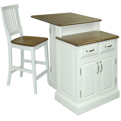 Bartlett Kitchen Island with 2 Barstools