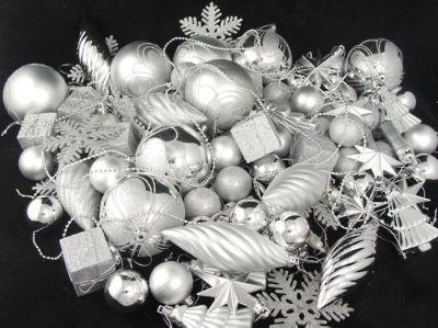 125-Piece Club Pack of Shatterproof Silver Splendor Christmas Ornaments