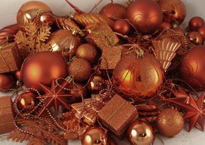 125-Piece Club Pack of Shatterproof Burnt Orange Christmas Ornaments