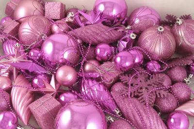 125-Piece Club Pack of Shatterproof Bubblegum PinkChristmas Ornaments