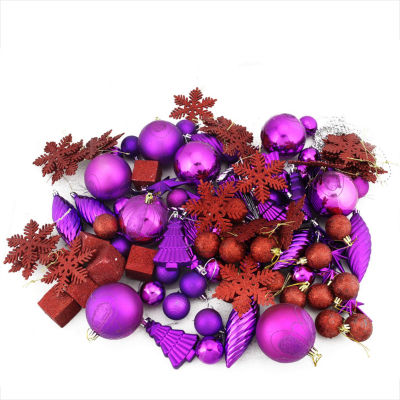 125-Piece Club Pack of Shatterproof Purple PassionChristmas Ornaments