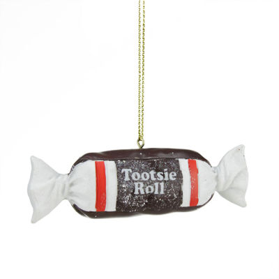 """1"""" Candy Lane Tootsie Roll Original Chewy Chocolate Candy Christmas Ornament"""""""