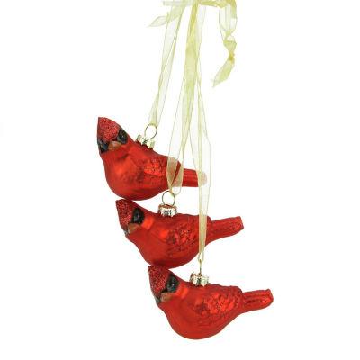 "10"" Miniature Glittered Red Glass Cardinal Bird Decorative Christmas Ornament"""