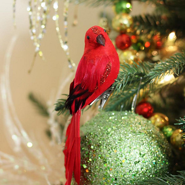 "10"" Red Long Tailed Clip-On Bird with Glitter Accent Christmas Ornament"""