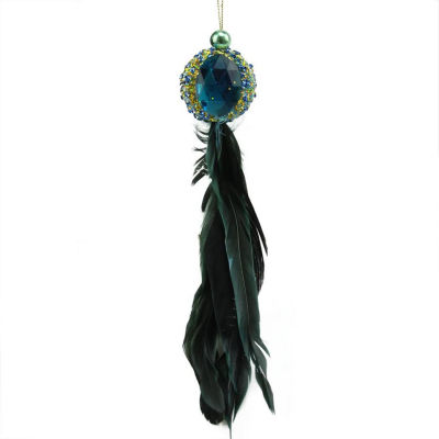 "10"" Regal Peackock Blue & Gold with Turquoise Jewel Hanging Tassel Christmas Ornament"""