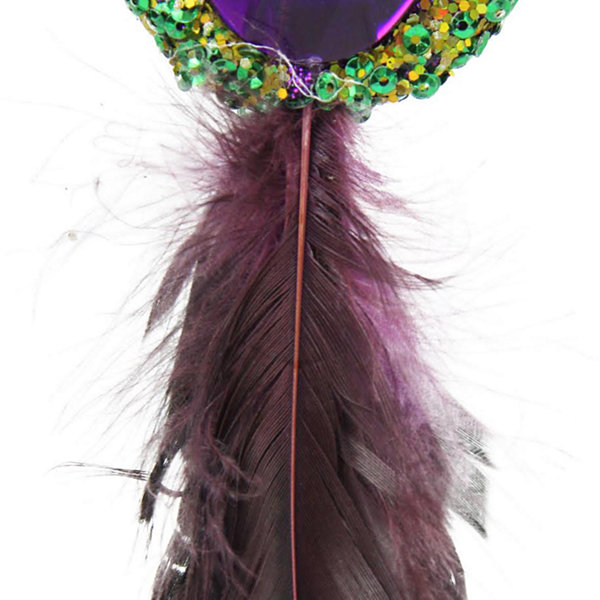 "10"" Regal Peackock Green & Gold with Purple JewelHanging Tassel Christmas Ornament"""