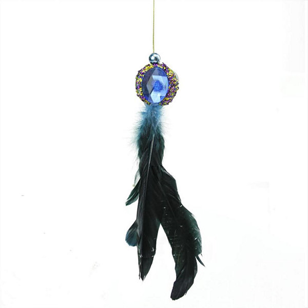 "10"" Regal Peackock Purple & Gold with Blue Jewel Hanging Tassel Christmas Ornament"""