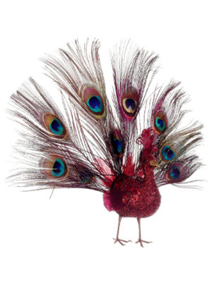 "10"" Regal Peacock Glitter Drenched Vibrant Red Open-Tail Bird Christmas Ornament"""