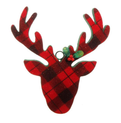 "10.5"" Country Cabin Flocked Black and Red Plaid Deer Head Christmas Ornament"""