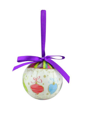 10-Piece Purple and White Decoupage Shatterproof Christmas Ball Ornament Set 1.75""