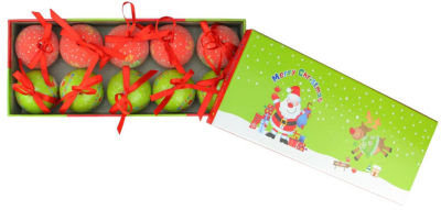 10-Piece Red and Green Santa and Reindeer Decoupage Shatterproof Christmas Ball Ornament Set 1.75""
