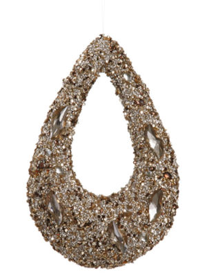 "11"" Golden Encrusted Sequins and Jewels Hoop Christmas Ornament"""
