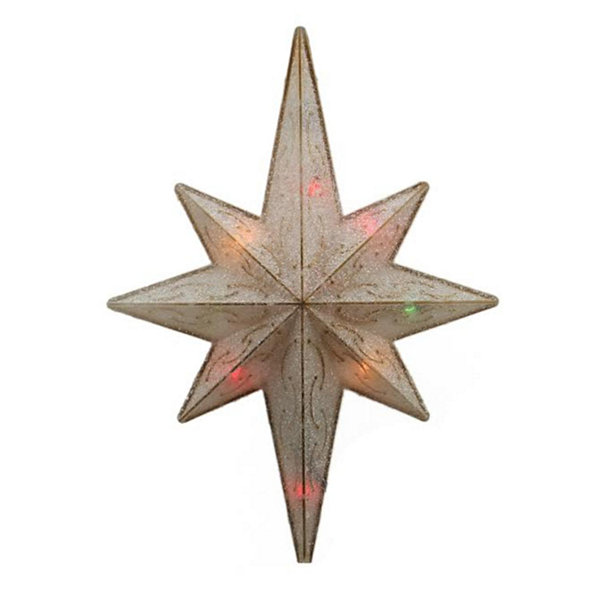 "11"" Lighted Frosted Gold Bethlehem Star ChristmasTree Topper - Multi-Color Lights"""