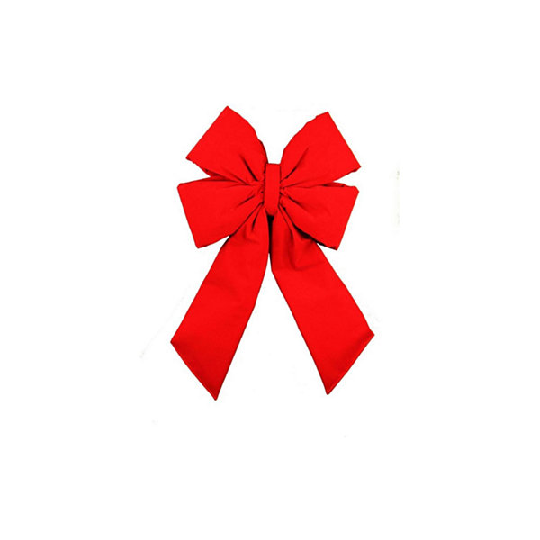 "11"" x 20"" Commercial 4-Loop Red Velveteen Christmas Bow Decoration"""