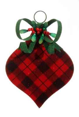"11.5"" Country Cabin Flocked Black and Red Plaid Onion FInial Christmas Ornament"""